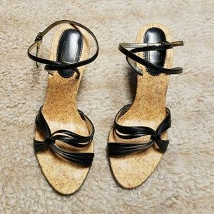 Touch of Nina Black Strappy Heels 6M
